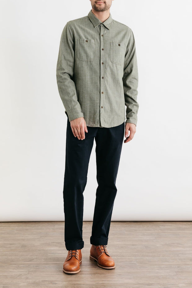 Winslow Olive Herringbone Bridge & Burn men's standard straight button up
