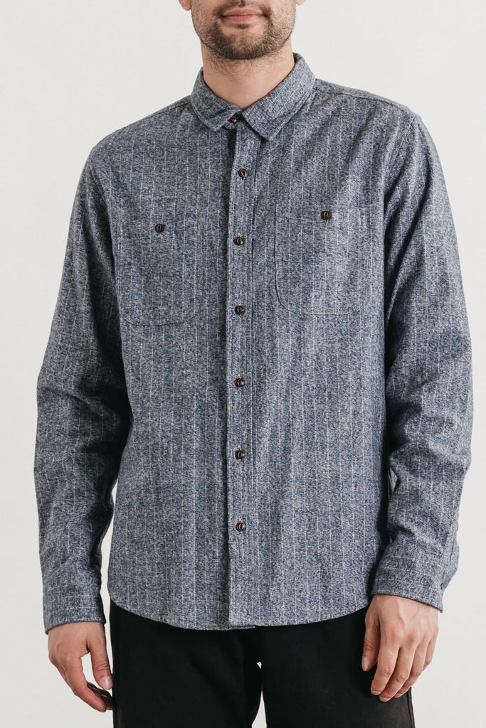 Winslow Navy Heather Stripe Bridge & Burn men's standard straight button up