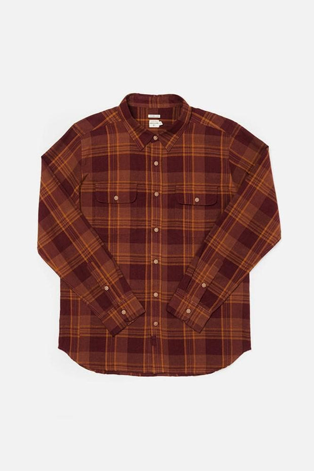 Cole Burgundy Plaid Bridge & Burn men's slim fit button up