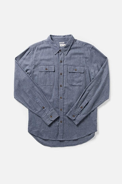 Bedford Denim Blue Heather Bridge & Burn men's long sleeve button up