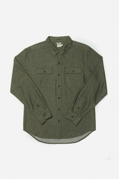 Bedford Olive Bridge & Burn men's long sleeve button up