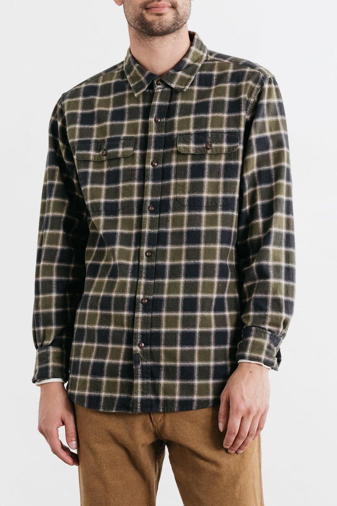 Bedford Olive Charcoal Plaid Bridge & Burn men's long sleeve button up