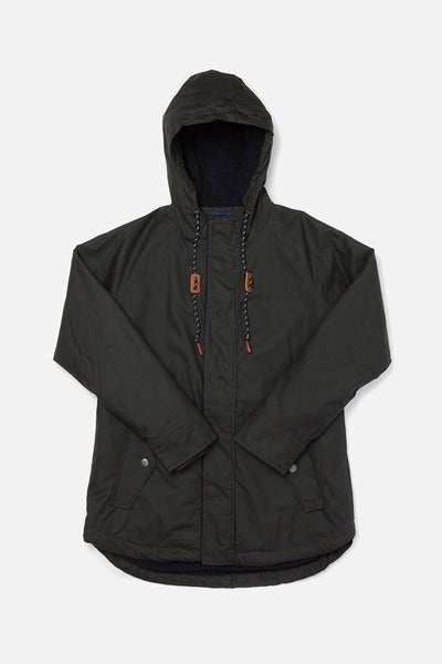 Sequoia Black Bridge & Burn women's hooded waxed cotton parka