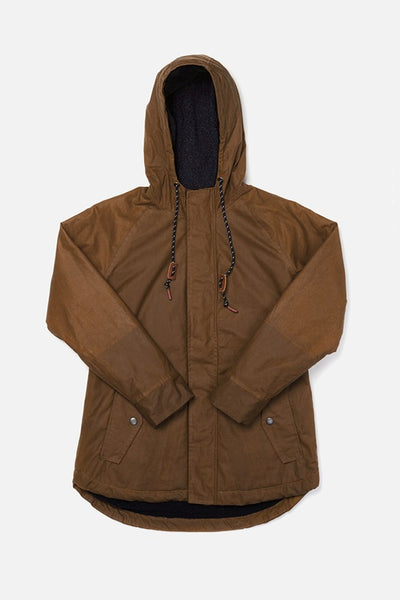 Sequoia Whiskey Brown Bridge & Burn women's hooded waxed cotton parka
