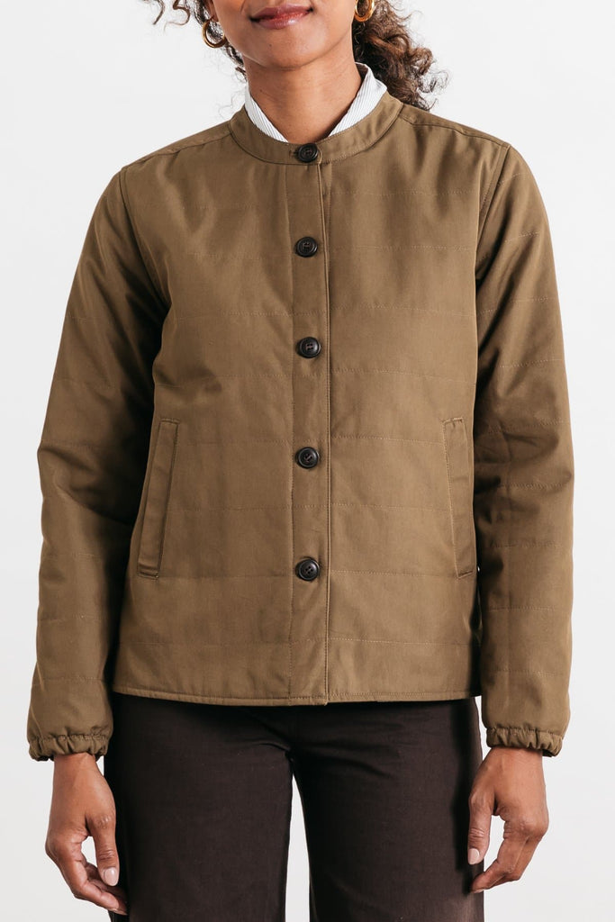 Isidore Dark Khaki Bridge & Burn women's quilted jacket