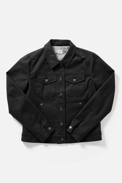 Douglas Black Herringbone Bridge & Burn Women's classic waxed canvas trucker jacket