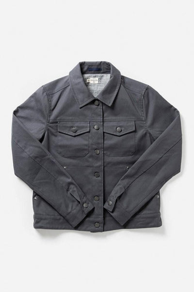 Douglas Grey Herringbone Bridge & Burn Women's classic waxed canvas trucker jacket