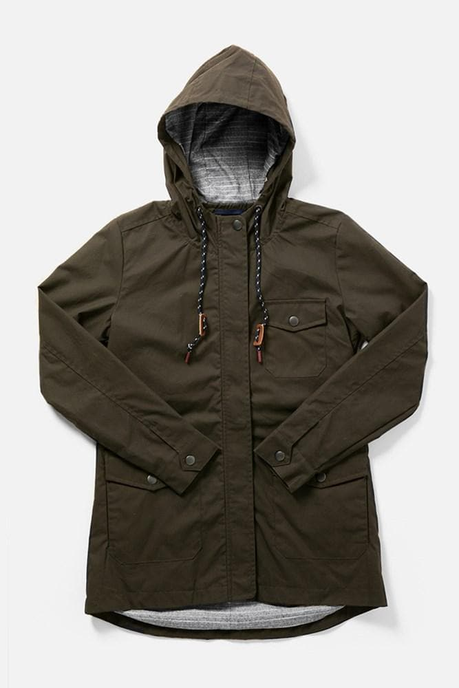 Balsam Olive Drab Bridge & Burn women's hooded waxed canvas jacket
