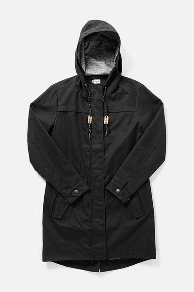 Briar Black Herringbone Bridge & Burn women's waxed canvas parka
