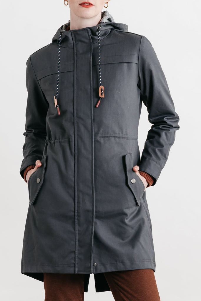 Briar Grey Herringbone Bridge & Burn women's waxed canvas parka