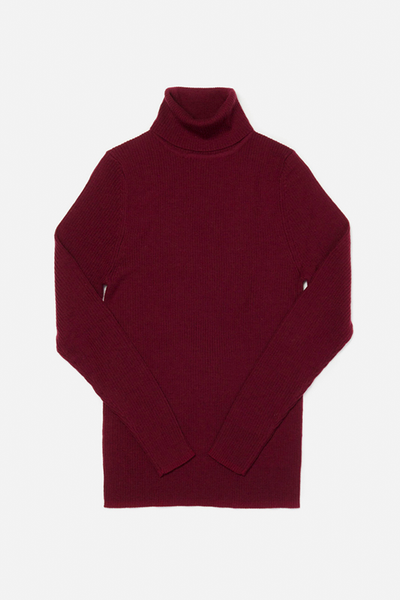 Ursula Burgundy Bridge & Burn women's ribbed turtleneck sweater