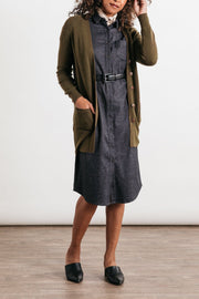 Enid Olive Bridge & Burn women's long v-neck cardigan