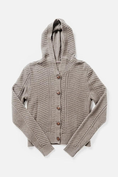 Vale Light Natural Bridge & Burn women's chunky hooded cardigan