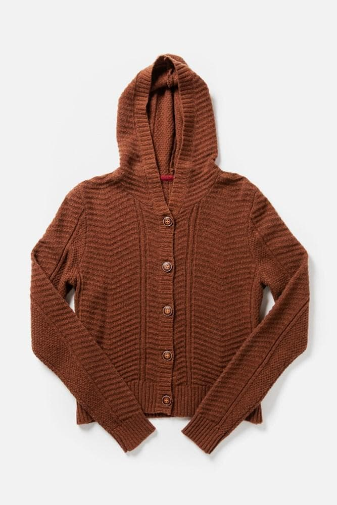 Vale Rust Bridge & Burn women's chunky hooded cardigan
