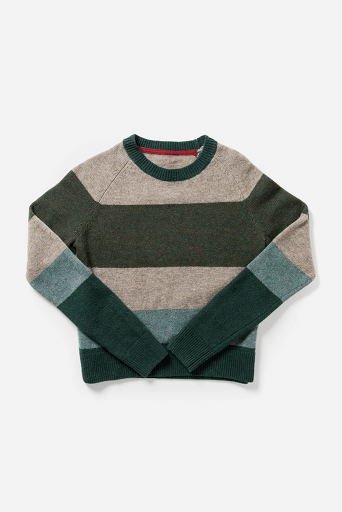 Myrtle Green Stripe Bridge & Burn women's tonal block sweater