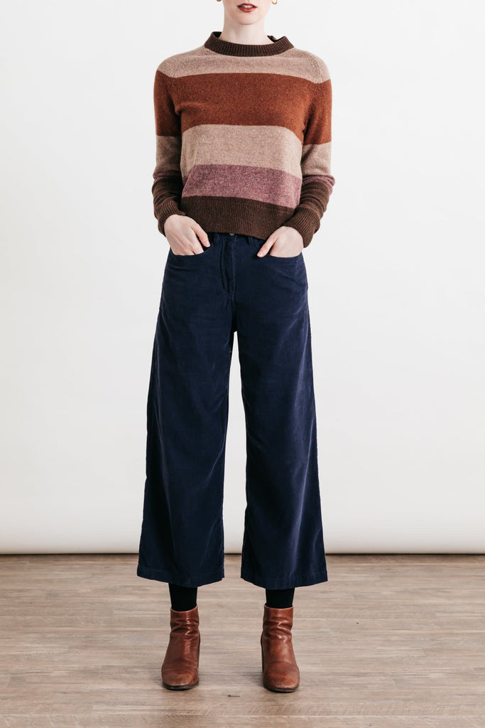 Myrtle Rust Stripe Bridge & Burn women's tonal block sweater