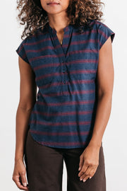 Ladd Burgundy Stripe Bridge & Burn women's cotton pullover blouse