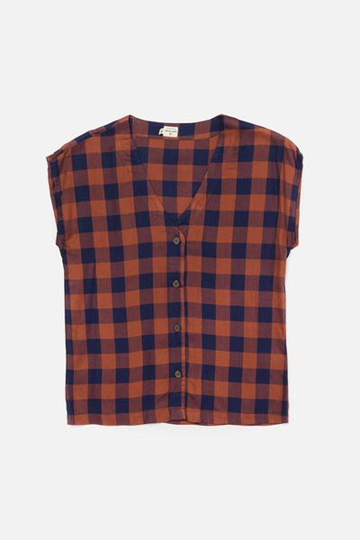 Nora Navy-Rust Gingham Bridge & Burn women's boxy v-neck blouse