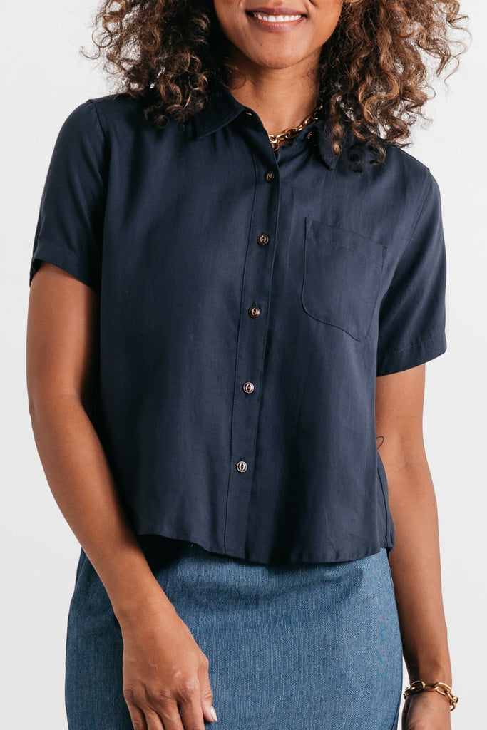 Greer Navy Bridge & Burn women's boxy cropped top