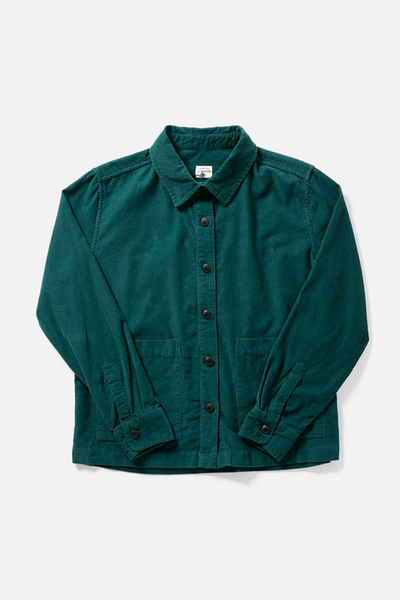 Kettering Teal Corduroy Bridge & Burn women's cropped corduroy overshirt