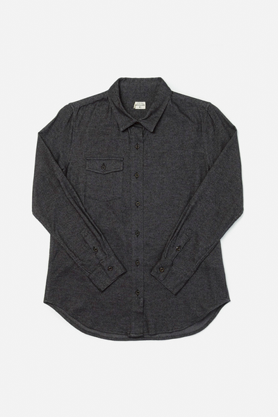 Bird Black Twill Bridge & Burn women's flannel button up shirt