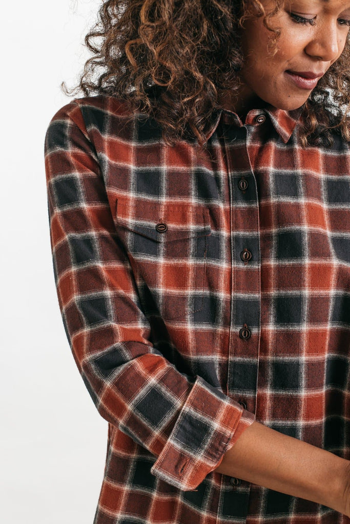 Bird Rust-Charcoal Plaid