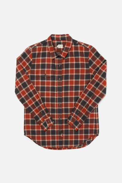 Bird Rust Charcoal Plaid Bridge & Burn women's flannel button up shirt
