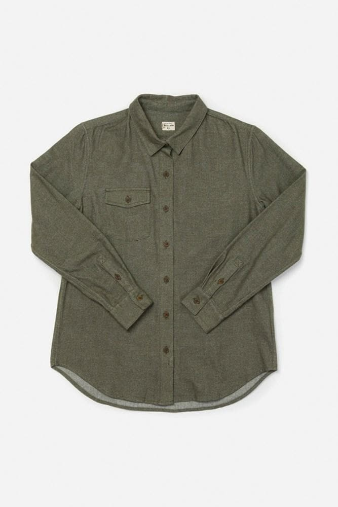Bird Olive Bridge & Burn women's flannel button up shirt