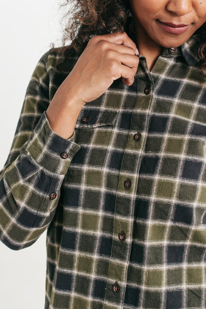 Bird Olive-Charcoal Plaid