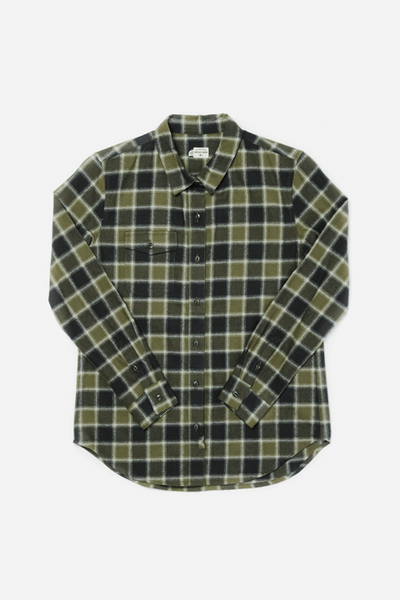 Bird Olive Charcoal Plaid Bridge & Burn women's flannel button up shirt