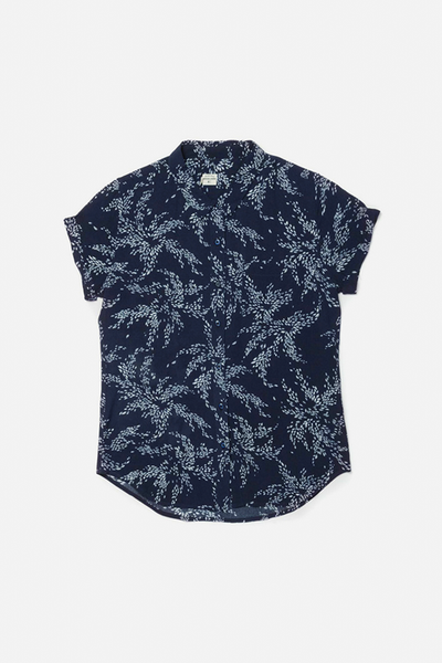 Bea Navy Floral Bridge & Burn fitted button up shirts womens