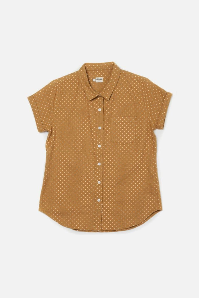 Bea Gold Polkadot Bridge & Burn fitted button up shirts womens