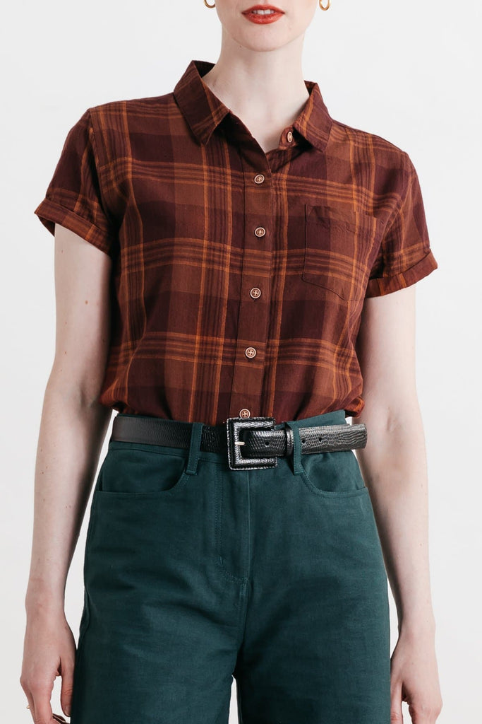 Bea Burgundy Plaid Bridge & Burn fitted button up shirts womens