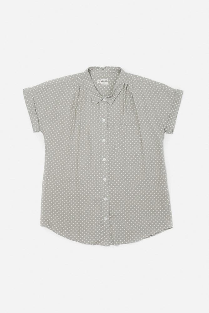 May Light Grey Polkadot Bridge & Burn women's short sleeve button up