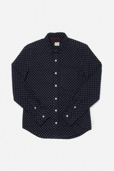 Ash Navy Polkadot Bridge & Burn women's slim-fit button up flannel shirt