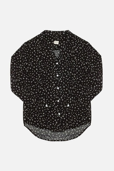 Swift Black Dot Bridge & Burn women's relaxed long sleeve blouse