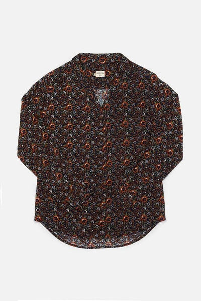 Swift Dark Floral Bridge & Burn women's relaxed long sleeve blouse