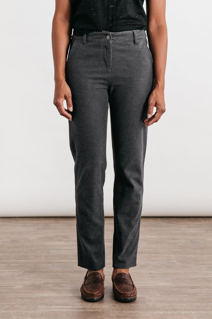 Market Charcoal Bridge & Burn women's mid rise cotton trousers