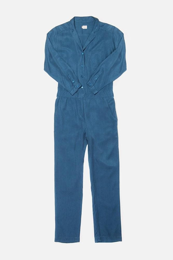 Simone Marine Blue Bridge & Burn women's long sleeve jumpsuit