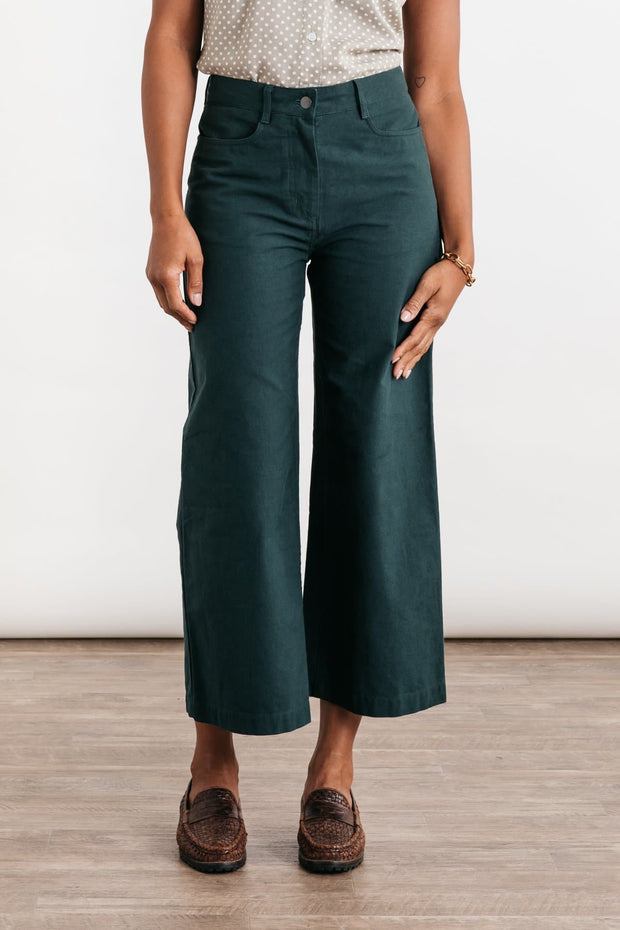 Easton Dark Teal Bridge & Burn women's high-waisted wide leg pants