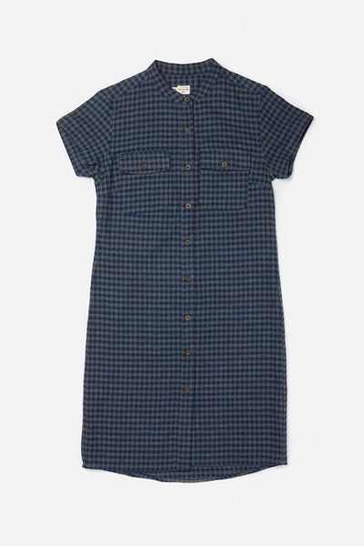 Clyde Navy Gingham Bridge & Burn women's button front short sleeve dress