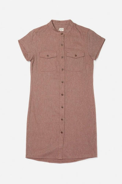 Clyde Copper Twill Bridge & Burn women's button front short sleeve dress