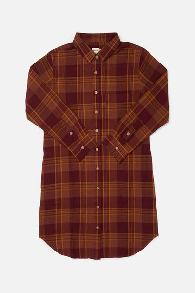 Ada Burgundy Plaid Bridge & Burn mid length shirt dress