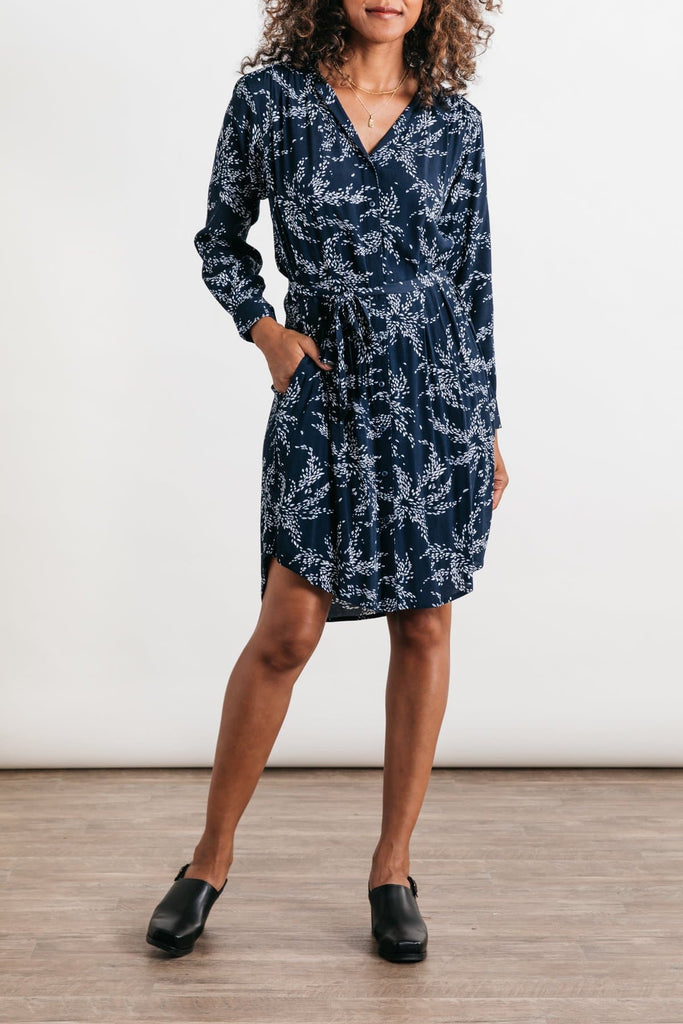 Emery Navy Floral Bridge & Burn women's button front shirtdress
