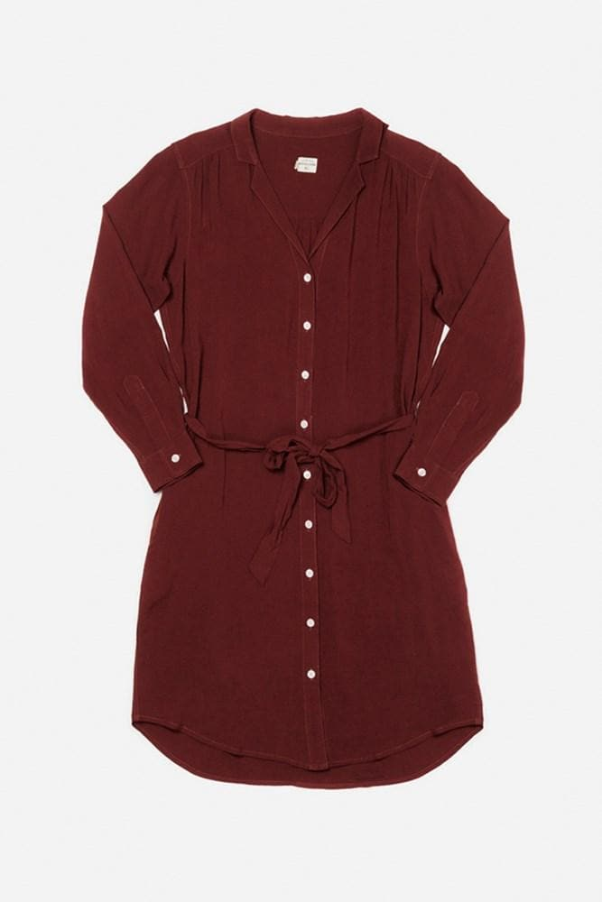 Emery Burgundy Bridge & Burn women's button front shirtdress