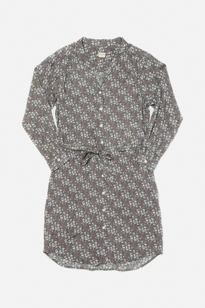 Emery Pewter Floral Bridge & Burn women's button front shirtdress