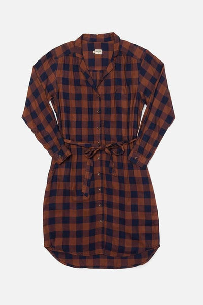 Emery Navy-Rust Gingham Bridge & Burn women's button front shirtdress