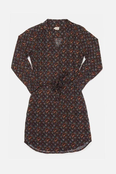 Emery Dark Floral Bridge & Burn women's button front shirtdress