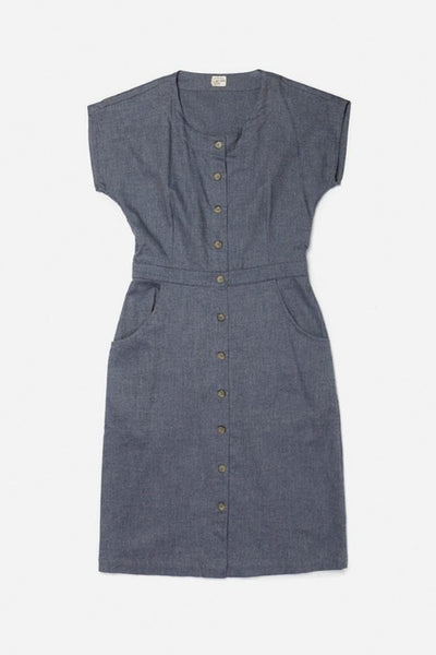 Marlene Denim Blue Heather Bridge & Burn women's button-front sheath dress