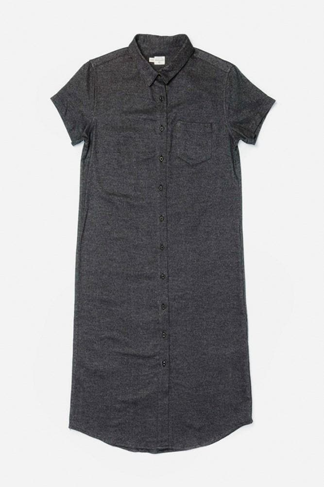 Tula Black Twill Bridge & Burn women's button-front straight-fit dress
